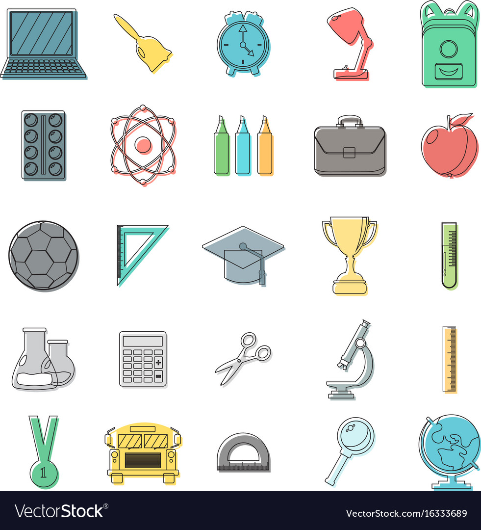 Set of school icons outline doodle style white
