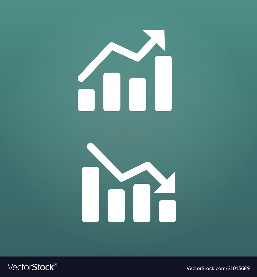 White up and down graph icon in trendy flat style