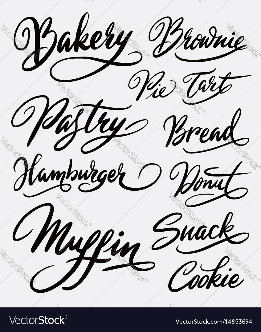 Bakery and hamburger hand written typography