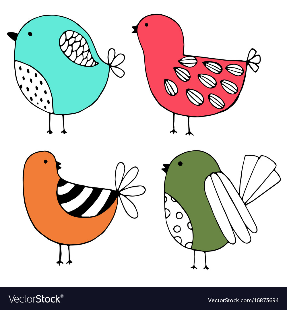 Cute hand drawn collection of birds doodle design