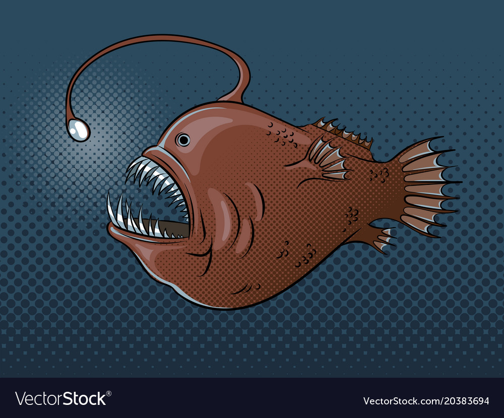 Deep Sea Fish With Light Pop Art
