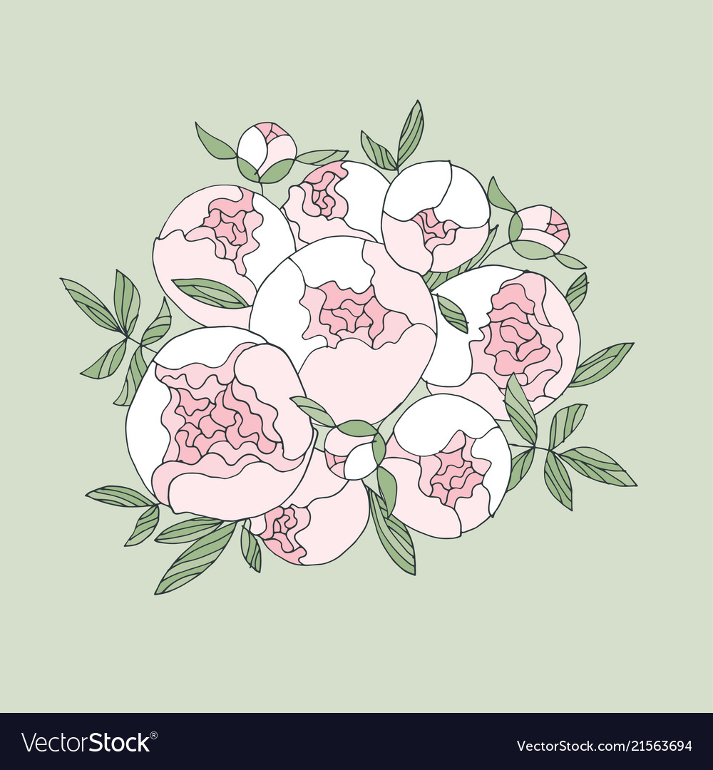 Elegant Modern Peony Flower Bouquet Royalty Free Vector