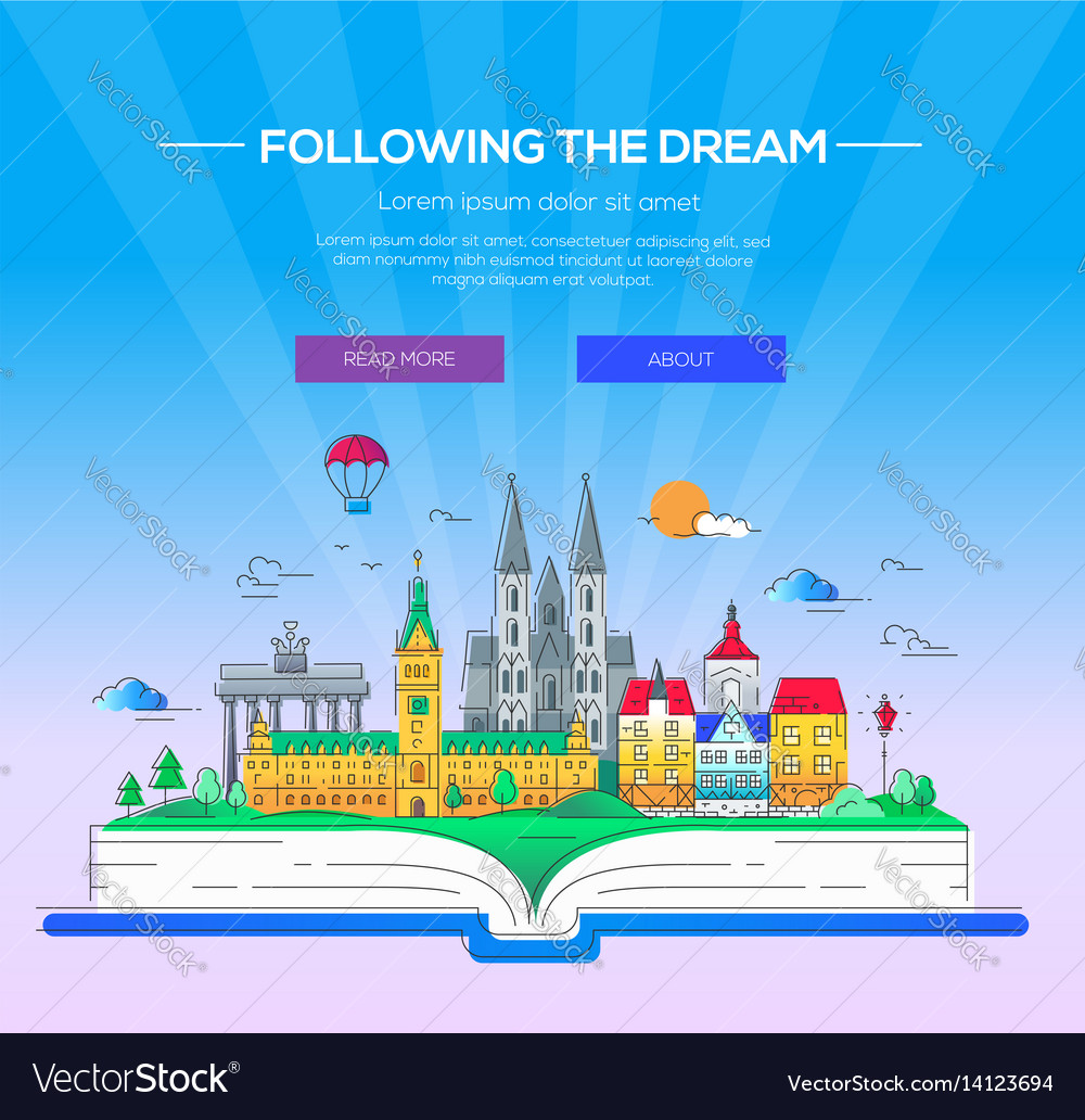 Following the dream - line travel vector image