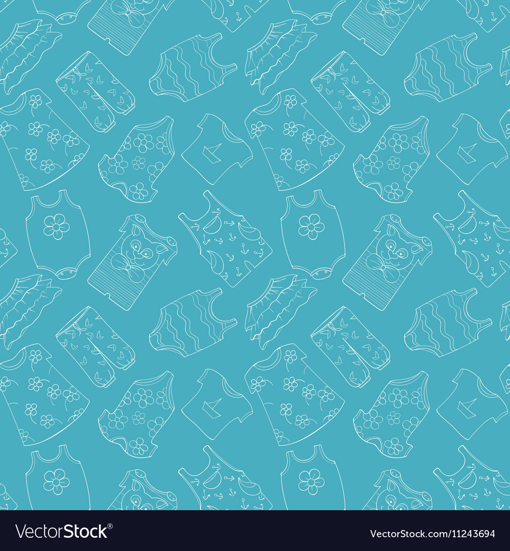 Hand-drawn seamless pattern of children cothes