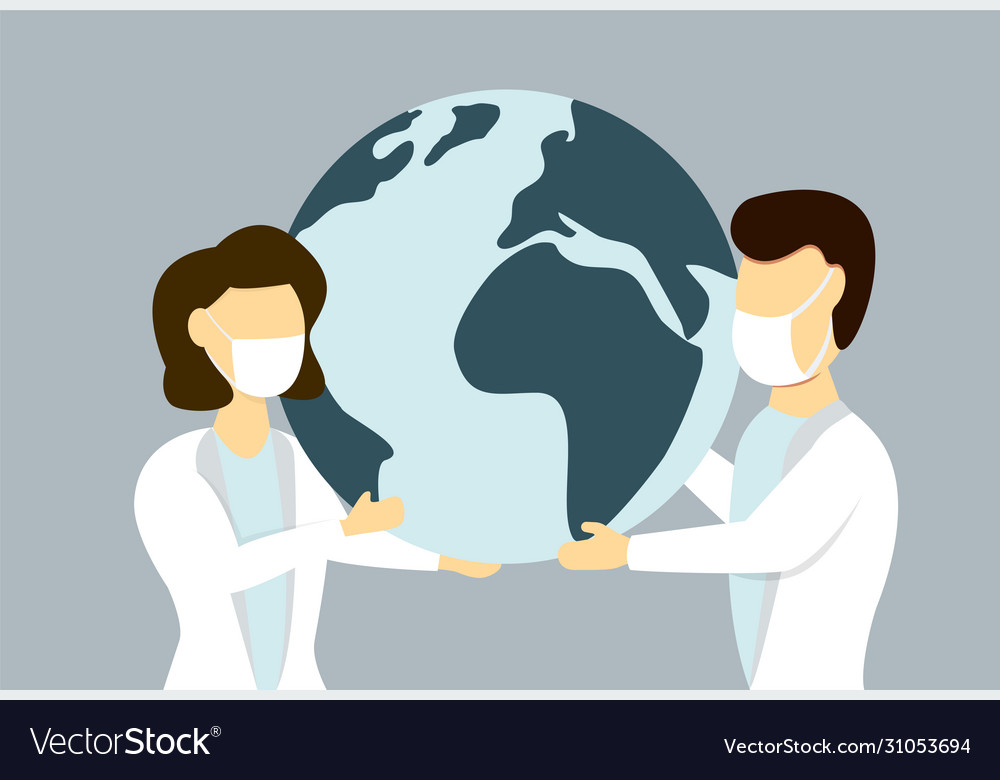 Male and female in medical face mask holding earth