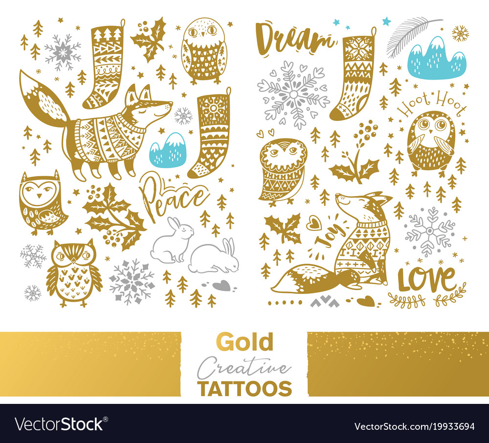 Metallic temporary tattoos gold silver and blue