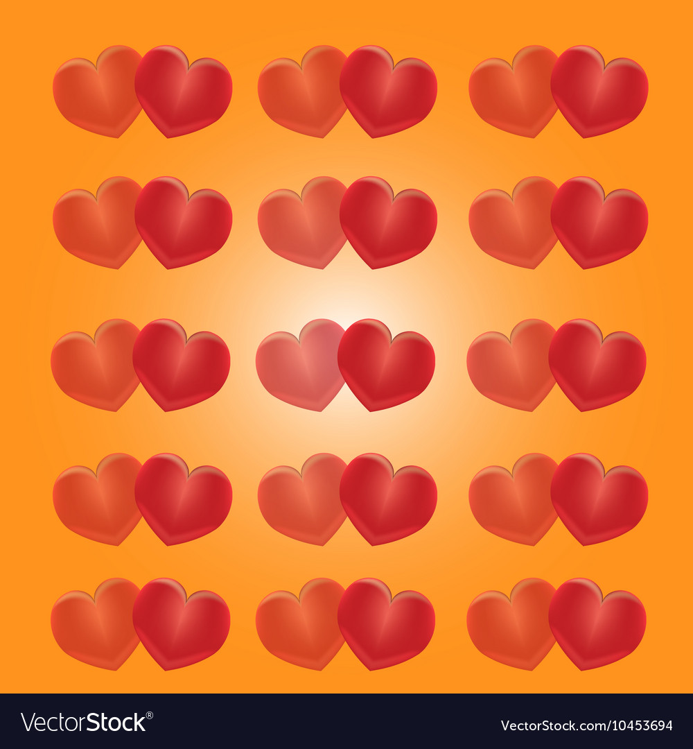 Red hearts on a yellow background