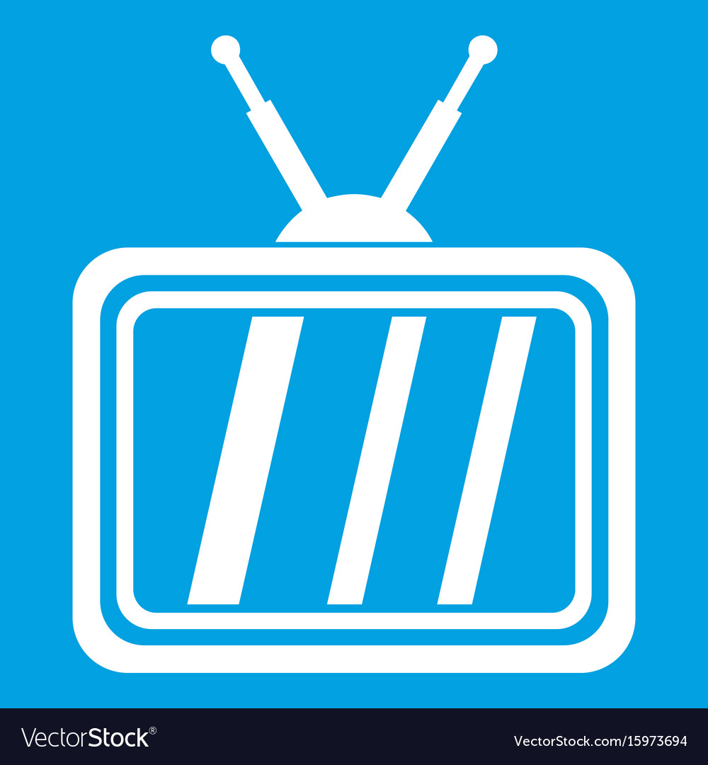 Retro tv icon white vector image