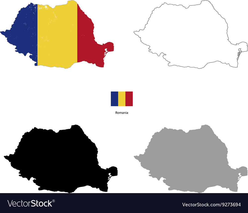 Romania country black silhouette and with flag on