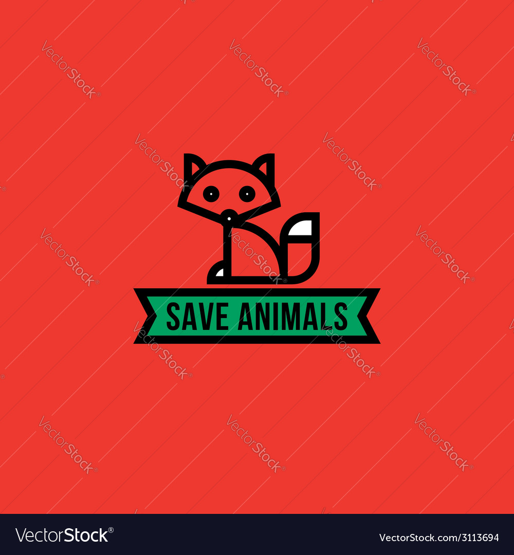 Save the animals concept with red fox vector image