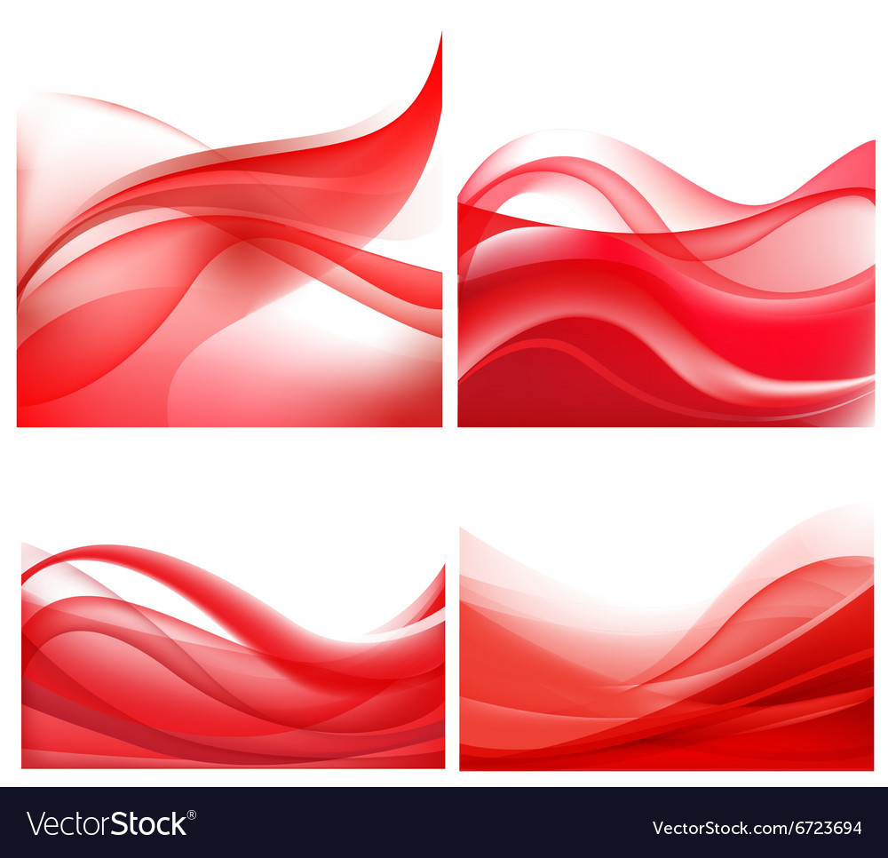 Set of red wavy abstract backgrounds