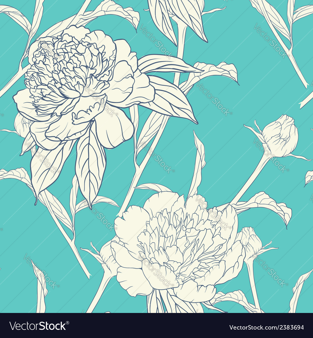 Vintage floral seamless pattern with peonies