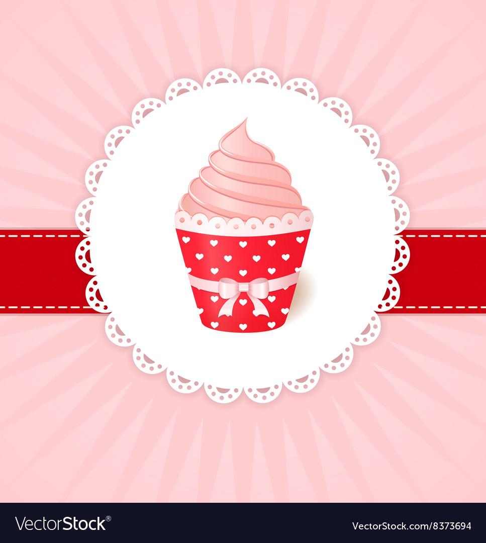 Vintage greetings card Pink cream cupcake