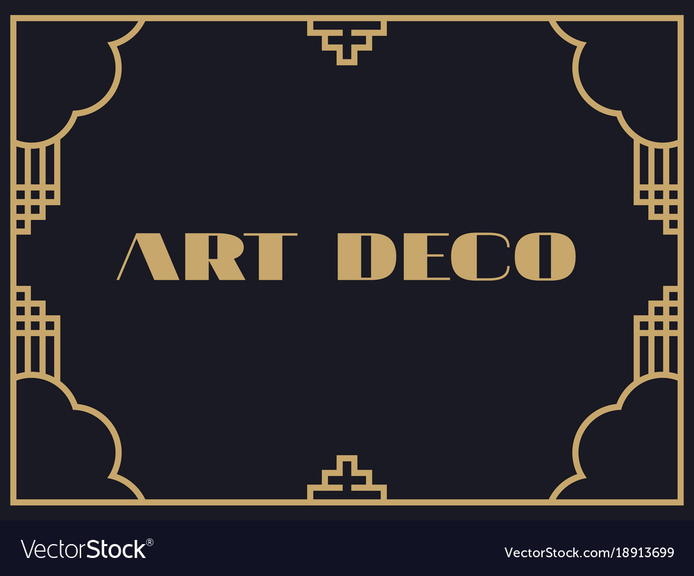 Art Deco Frame Vintage Linear Border Design A Vector Image
