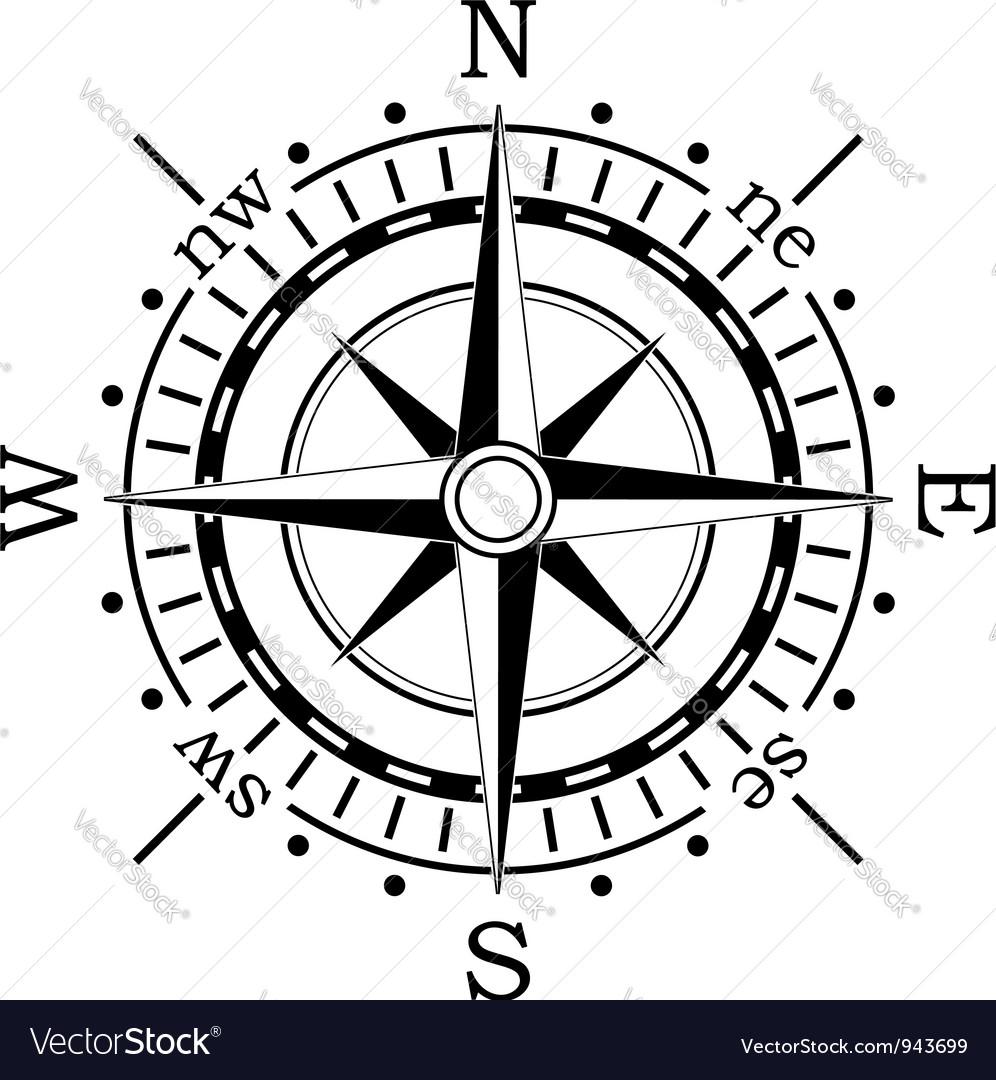 black compass royalty free vector image vectorstock