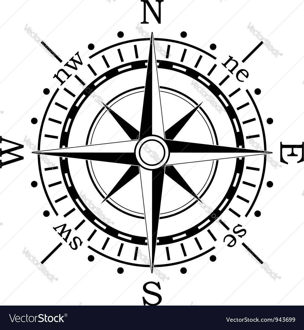 black compass royalty free vector image vectorstock rh vectorstock com vector gps compass nautical compass vector