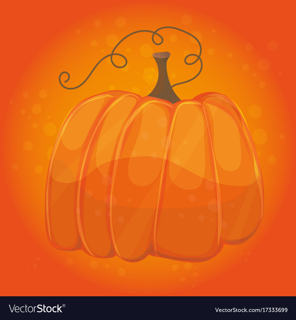 Cartoon pumpkin on orange color background vector image