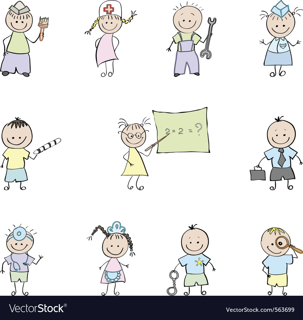 Children in uniforms vector image