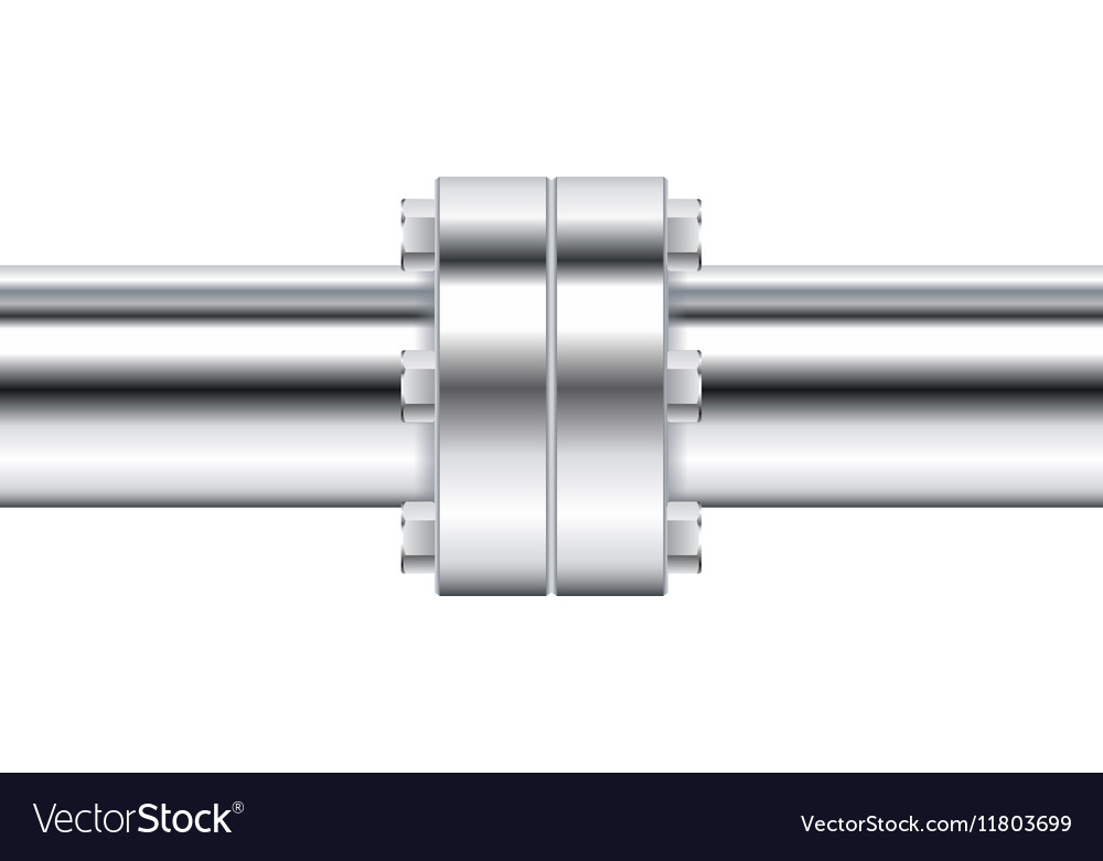 Chrome pipe with flange vector image