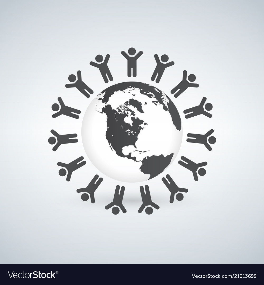 Earth with children ring around symbol isolated vector image