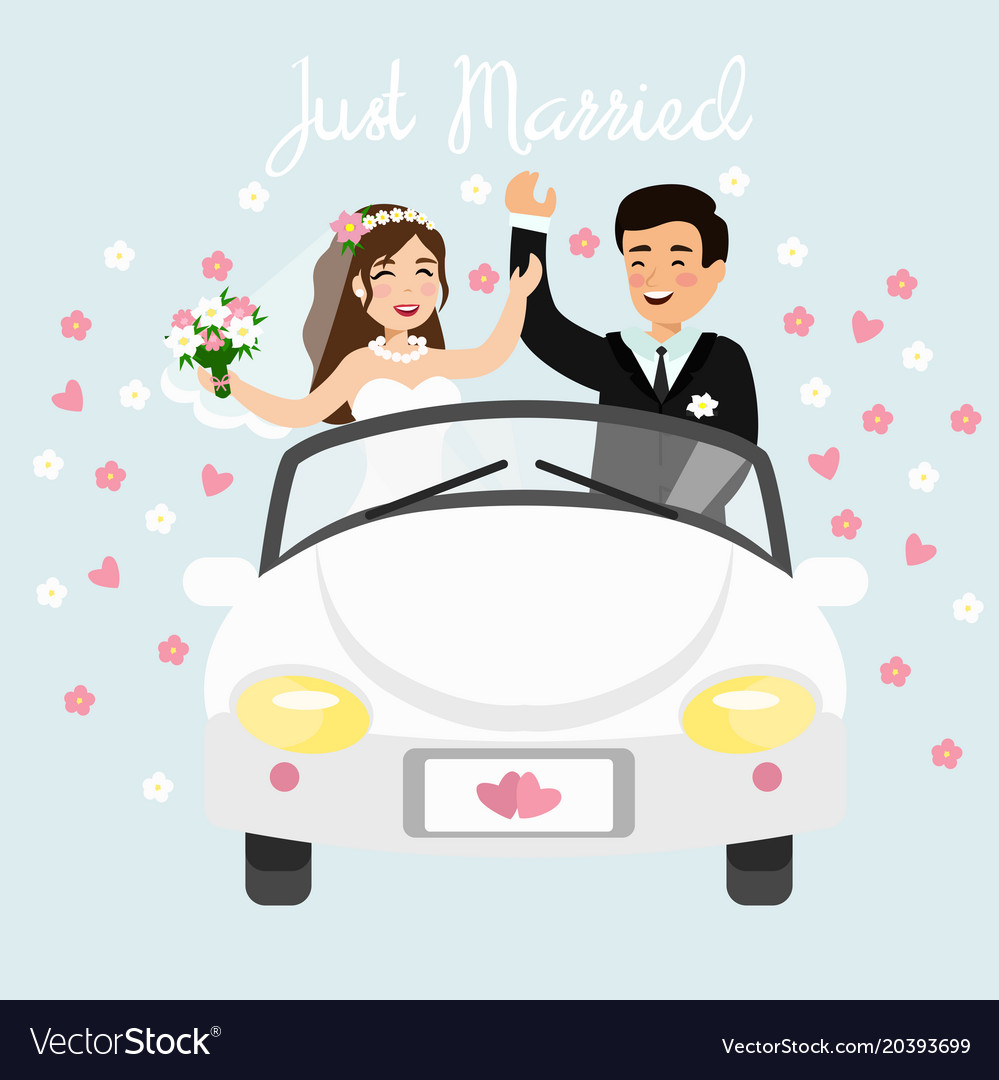 Just married couple driving