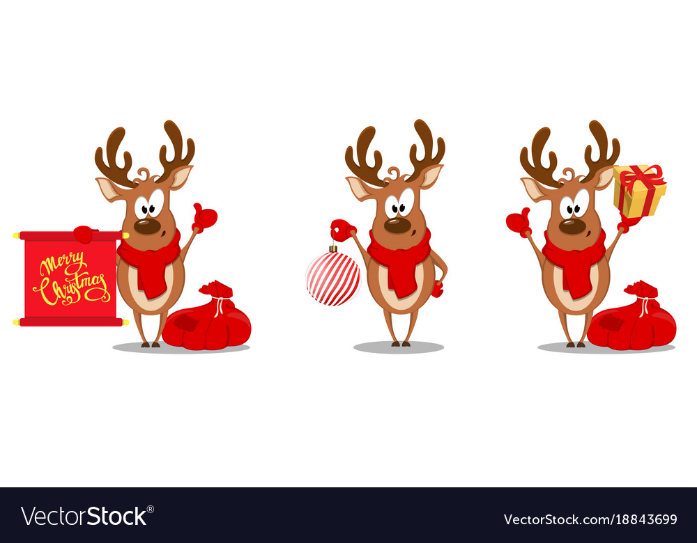 Merry christmas greeting card with funny reindeer vector image m4hsunfo