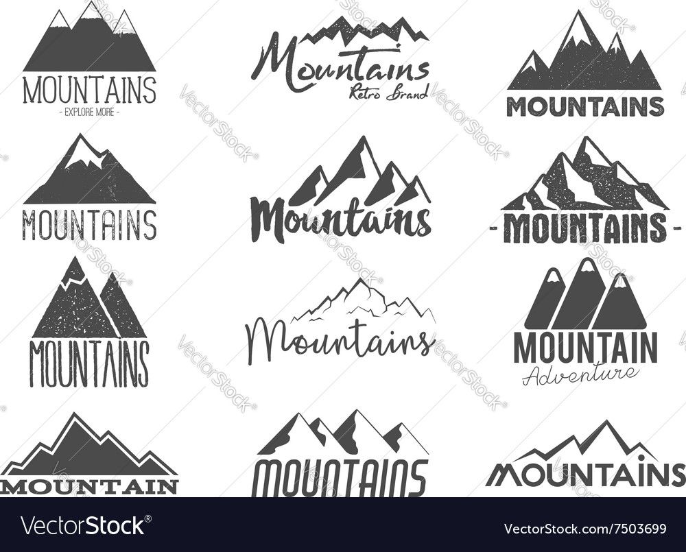 Set of Hand drawn mountains badges Wilderness old vector image