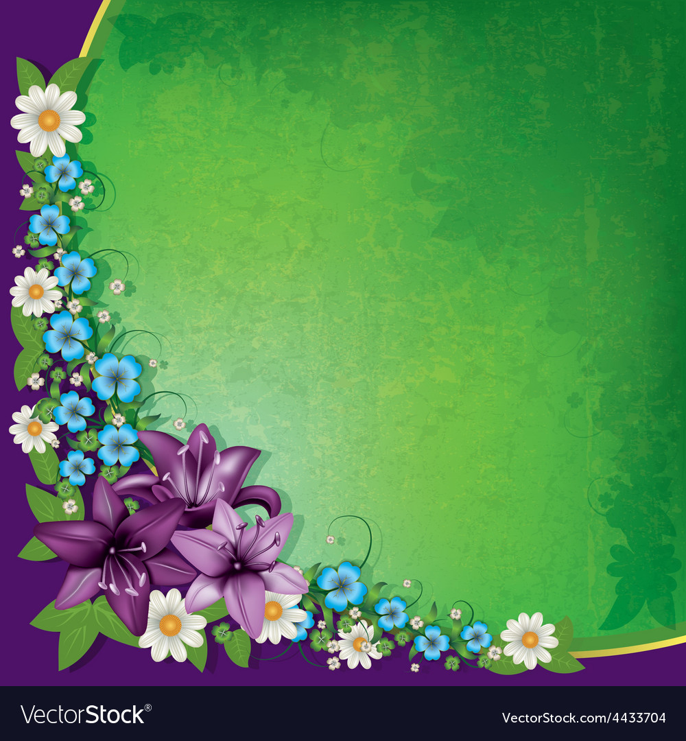 Abstract Spring Floral Background With Purple
