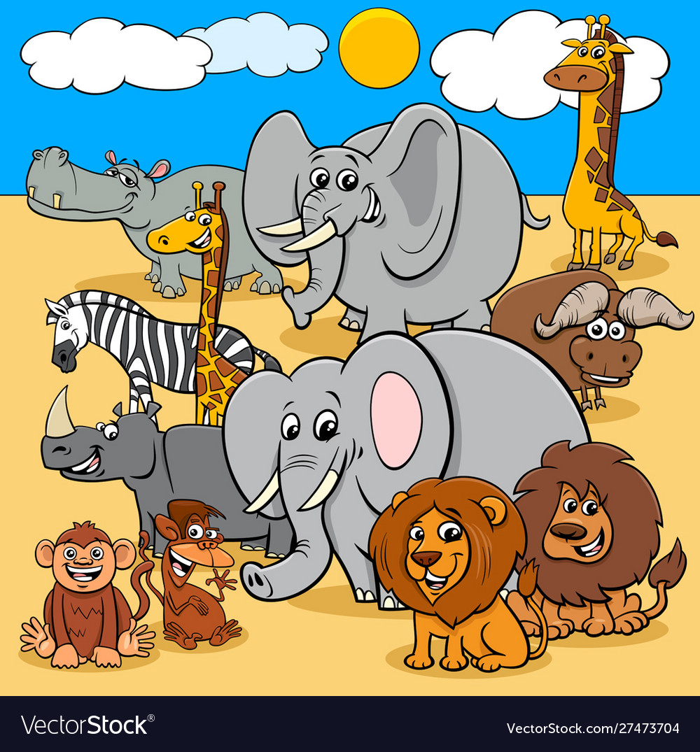 African wild animals cartoon characters group
