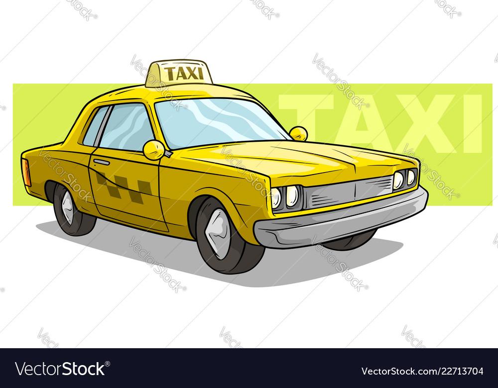 Cartoon yellow cool taxi car icon