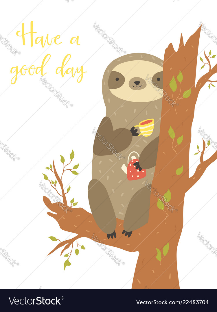 Cute sloth sitting on a tree and having a tea