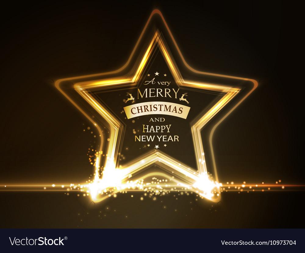 Golden star frame Merry Christmas vector image