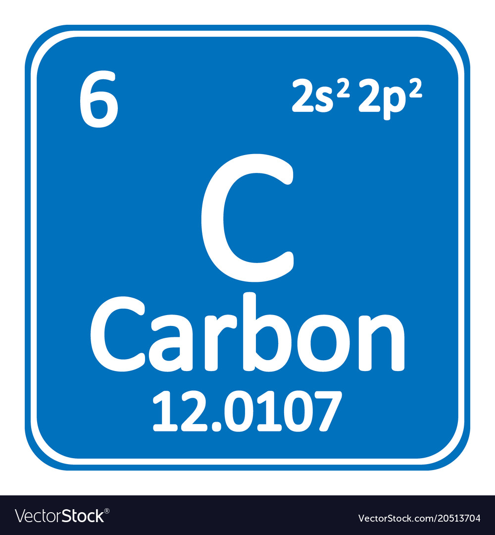 Periodic Table Element Carbon Icon Royalty Free Vector Image