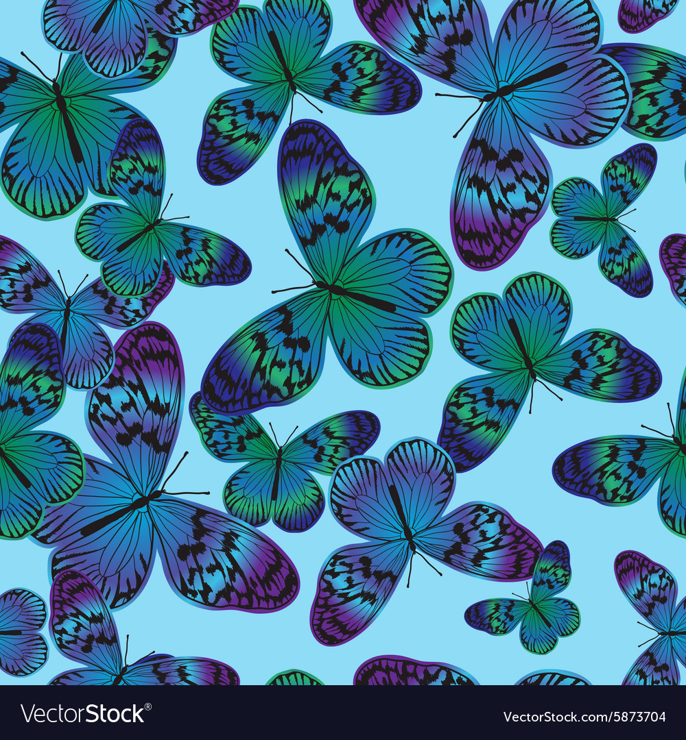 Seamless pattern with vintage green-blue butterfly