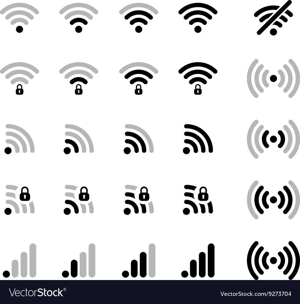Set of different wifi connection black icons