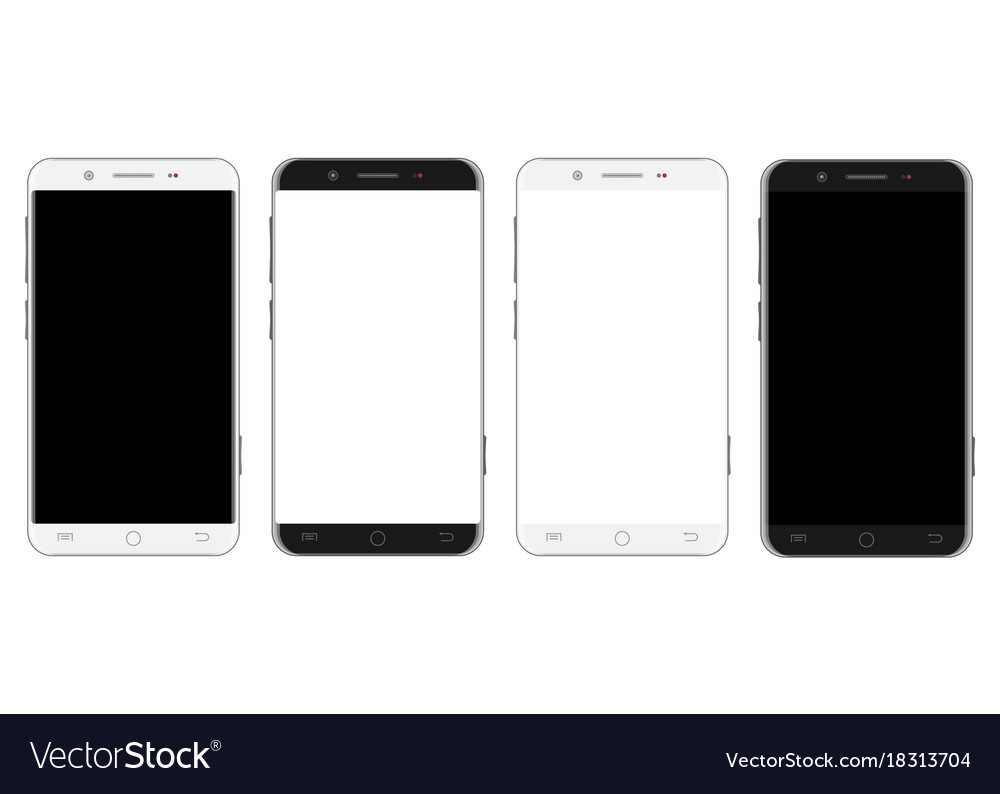 Set of white and black smartphones
