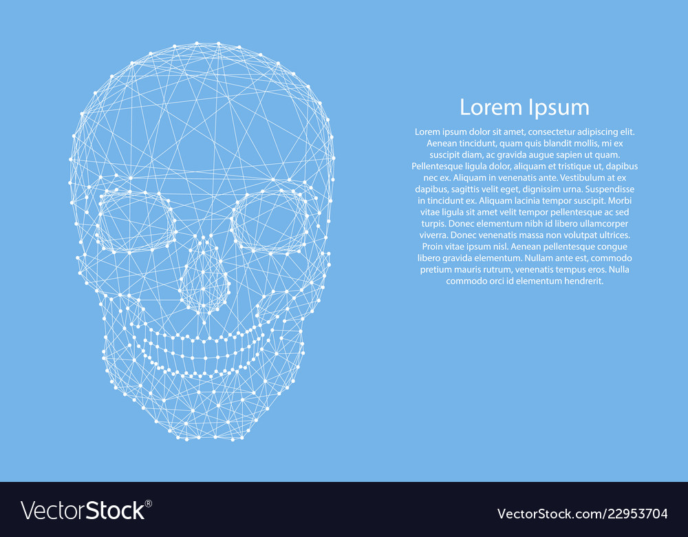 Skull human from abstract futuristic polygonal