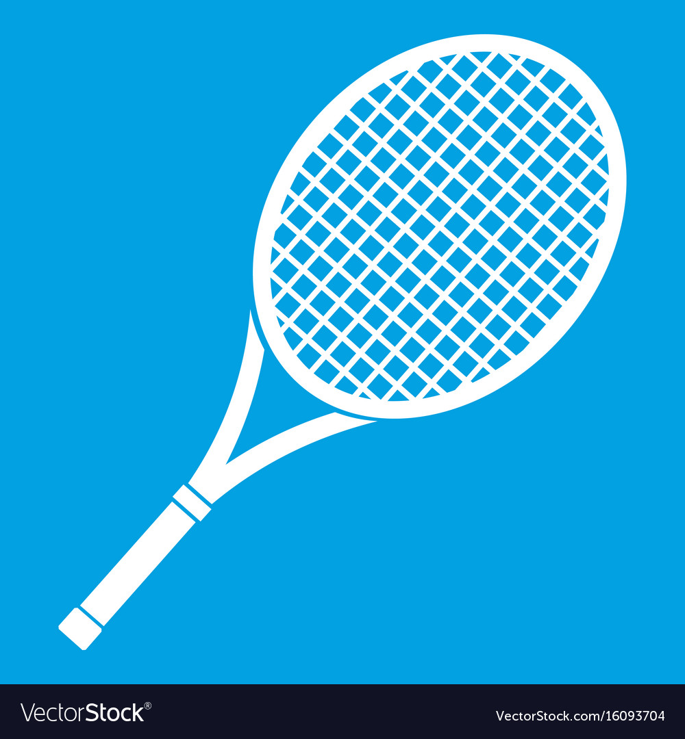 Tennis racket icon white vector image