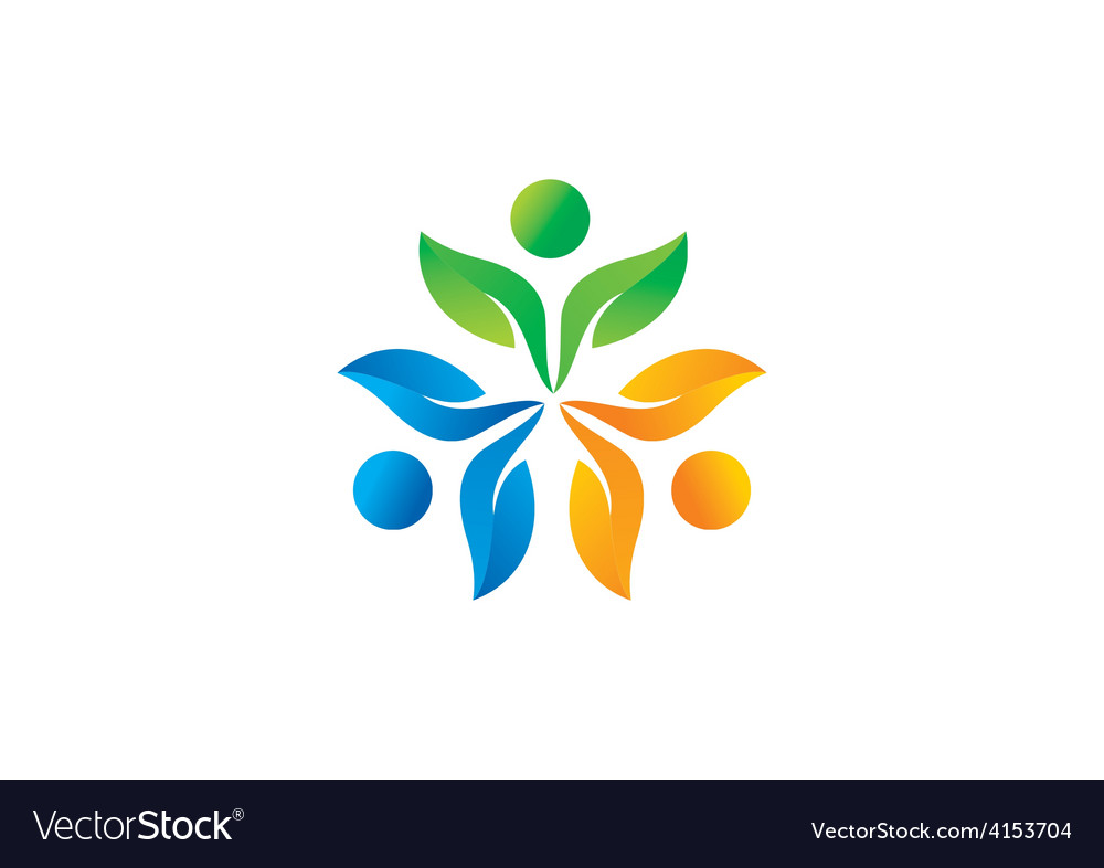 Three people ecology leaf circle logo