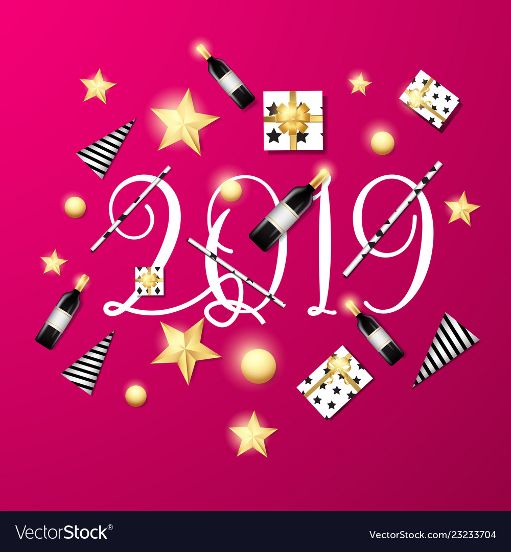 Welcome 2019 pink background template