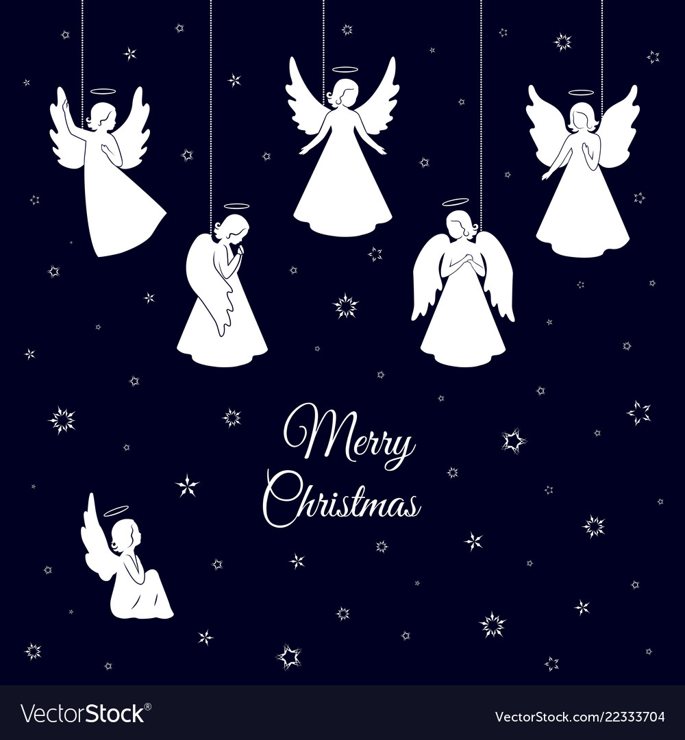 Christmas Angels.White Christmas Angels With Wings And Nimbus