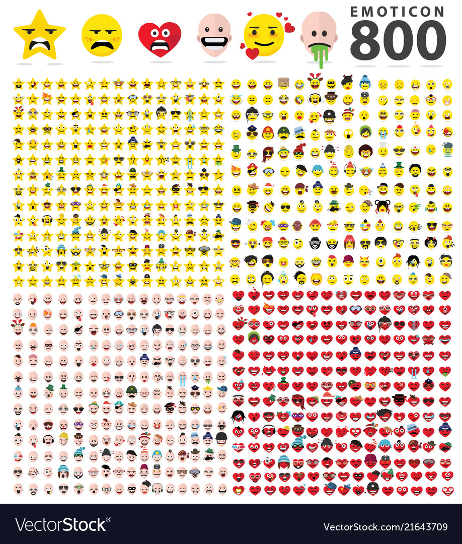 800 Flat Emoticons Symbols Royalty Free Vector Image