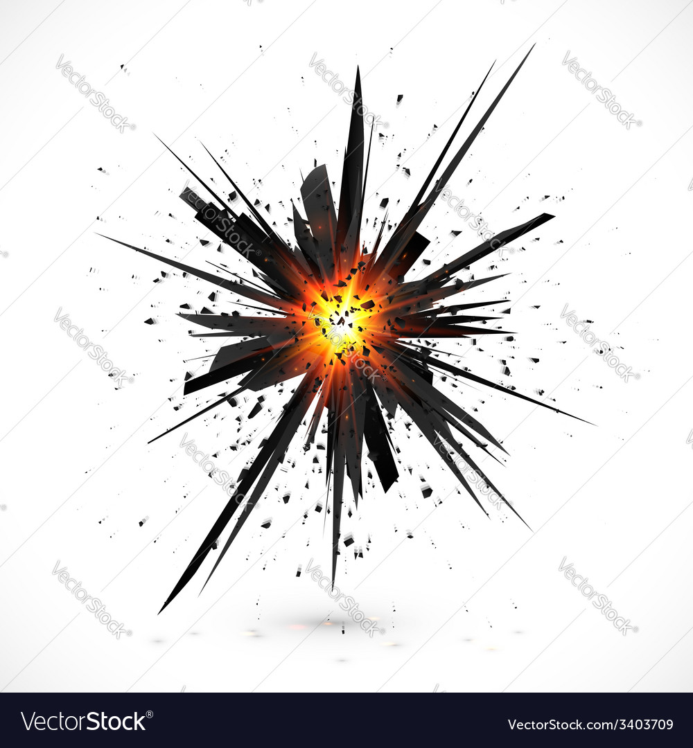 Black isolated explosion with particles