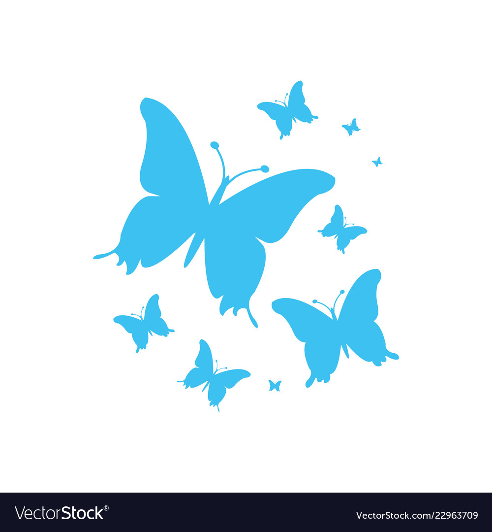 Blue Butterflies For Your Design Royalty Free Vector Image