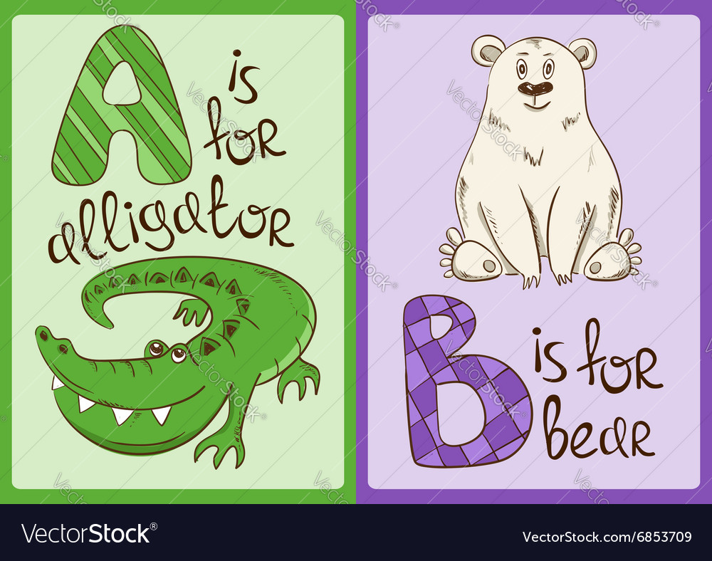 Children Alphabet with Funny Animals Alligator and