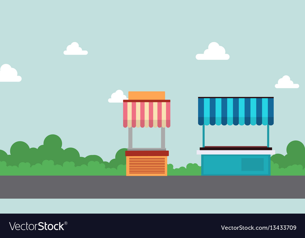 Collection of street stall design landscape