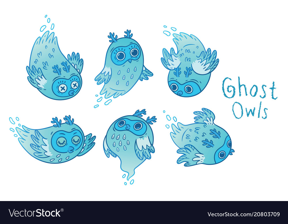 Cute ghost owls set in blue colors