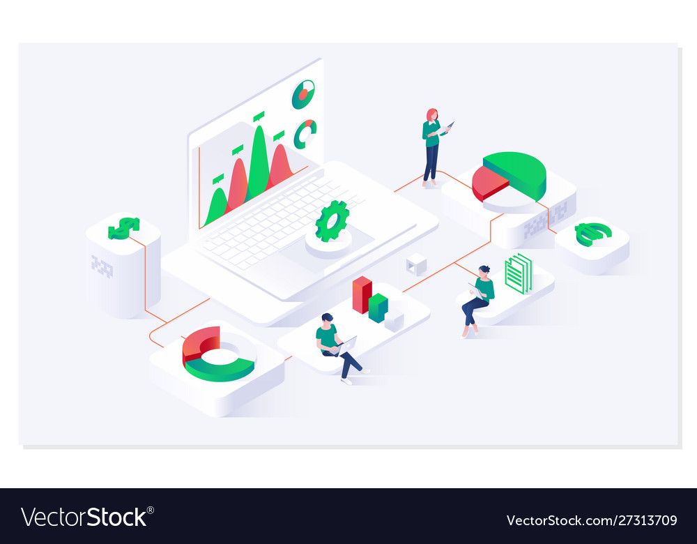 Data analysis and statistics concept isometric web
