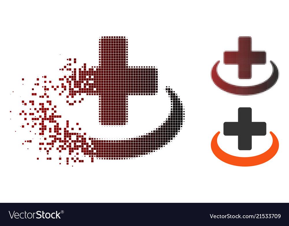 Dissolving pixel halftone medical community icon