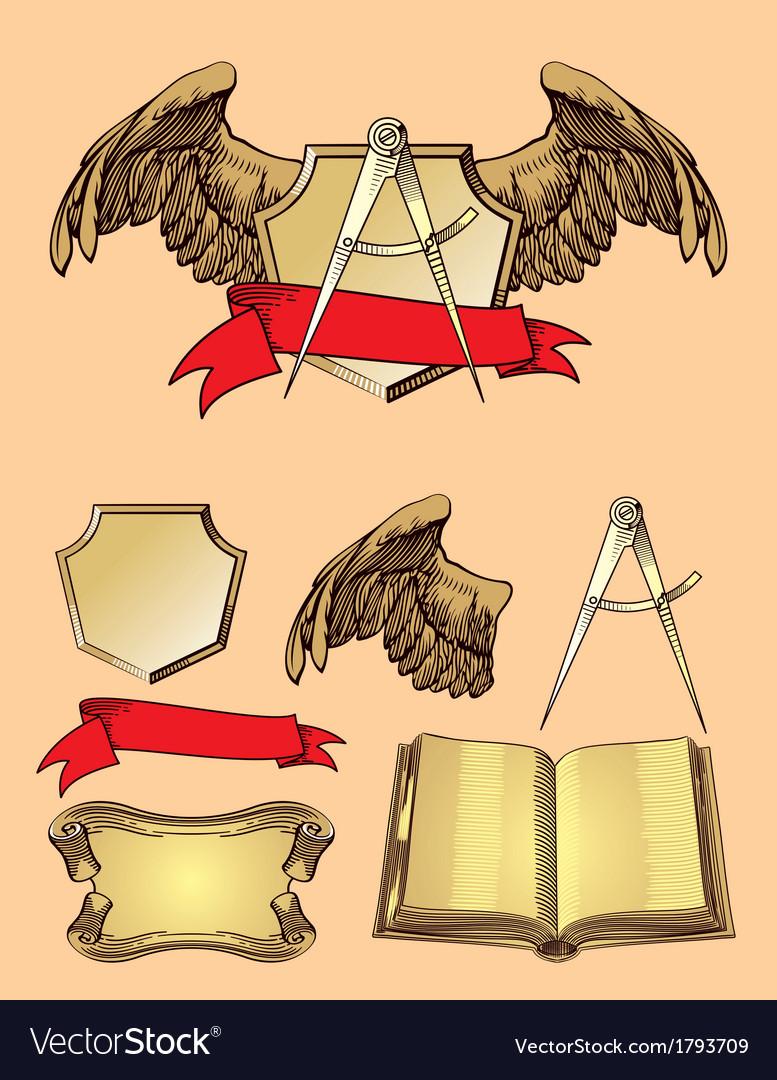 Emblem design element vector image